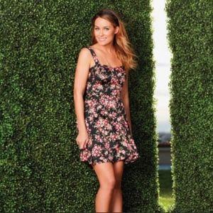 LC Lauren Conrad Black Floral Corset Summer Dress